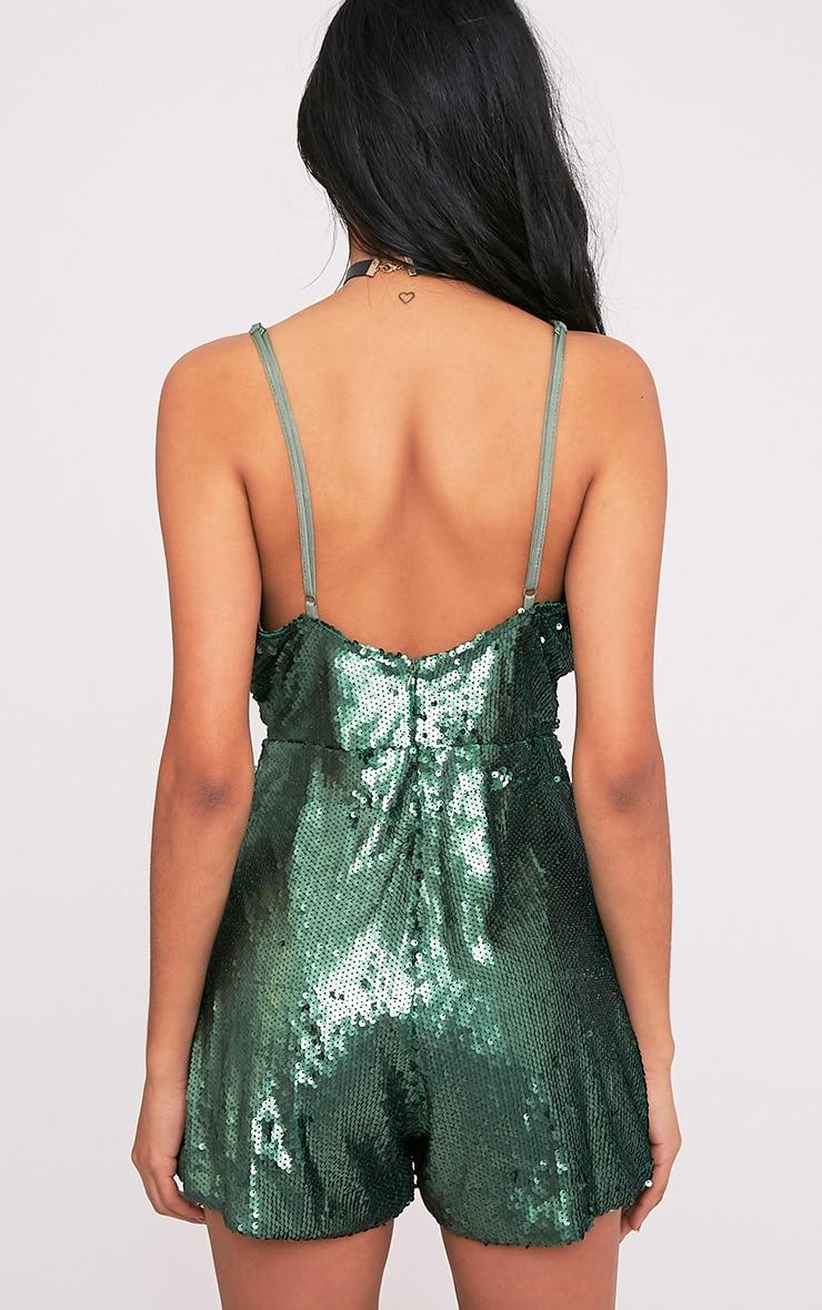 Tarlia Green Sequin Plunge Playsuit 2