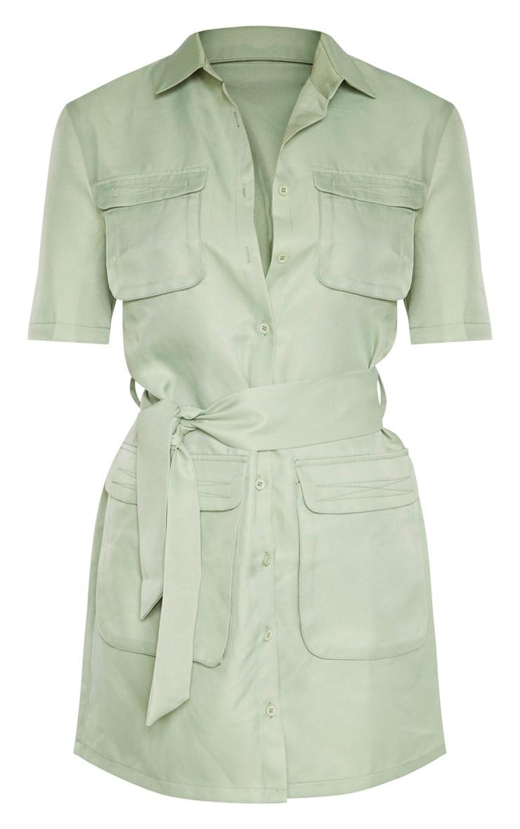 Sage Green Utility Short Sleeve Shirt Dress 3