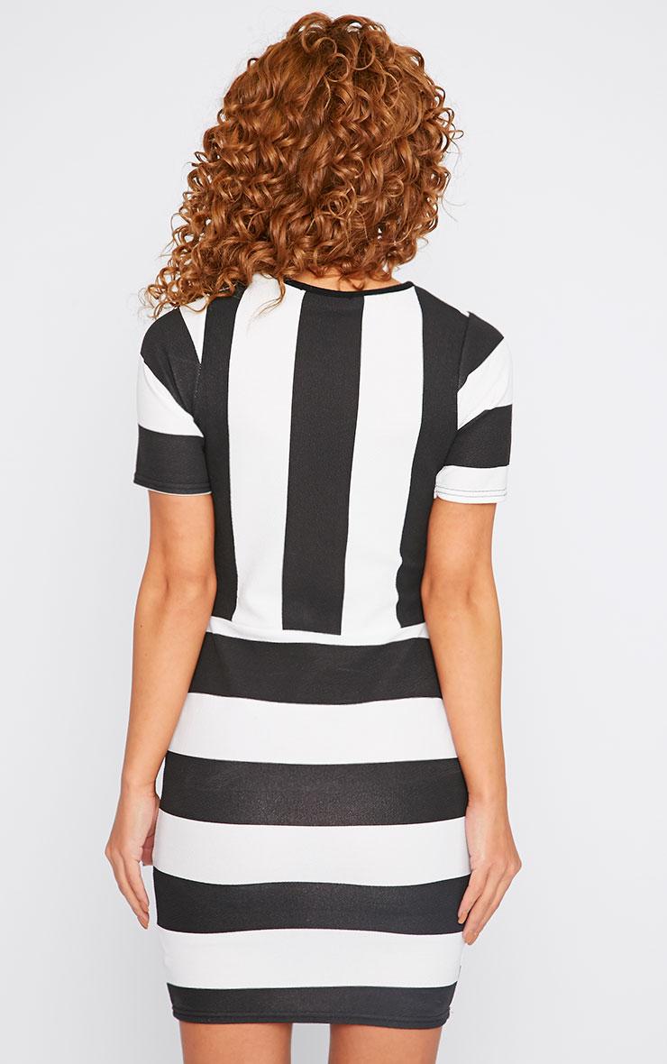 Tiffany Monochrome Stripe Mini Dress 2