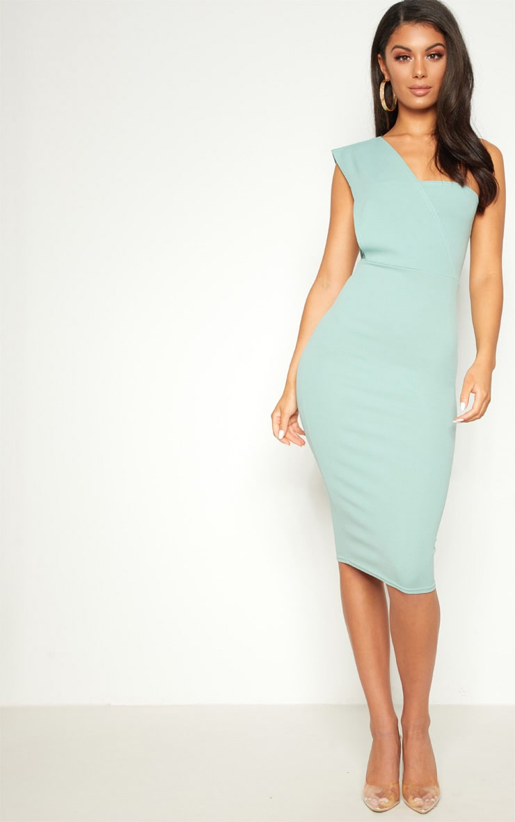 Mint One Shoulder Draped Midi Dress 1
