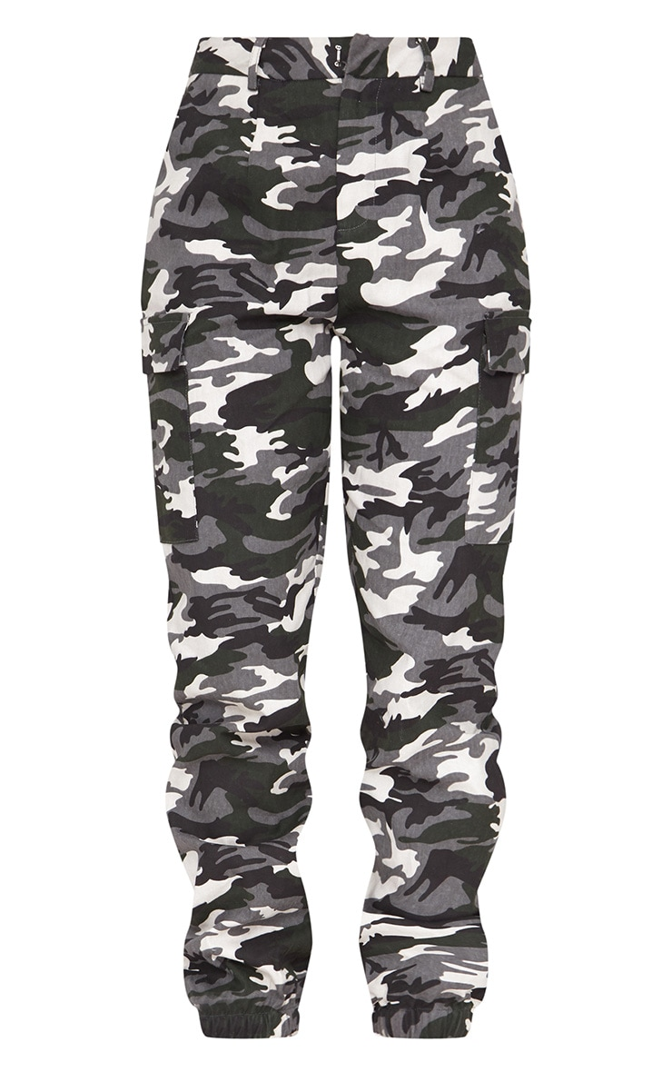 Grey Camo Print Cargo Trousers 3