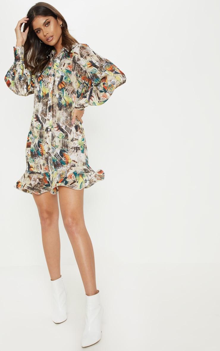 94e40069669 Nude Abstract Print Frill Hem Shirt Dress image 1