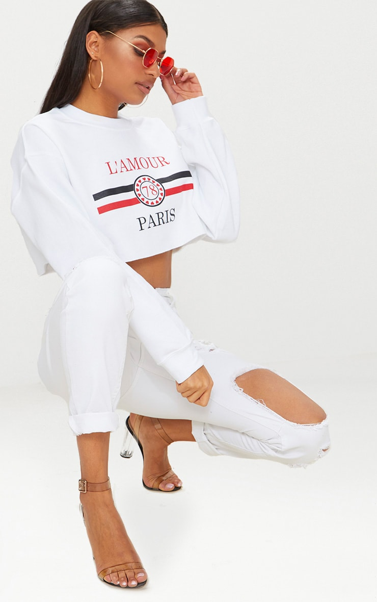White Lamour Cropped Sweater  3