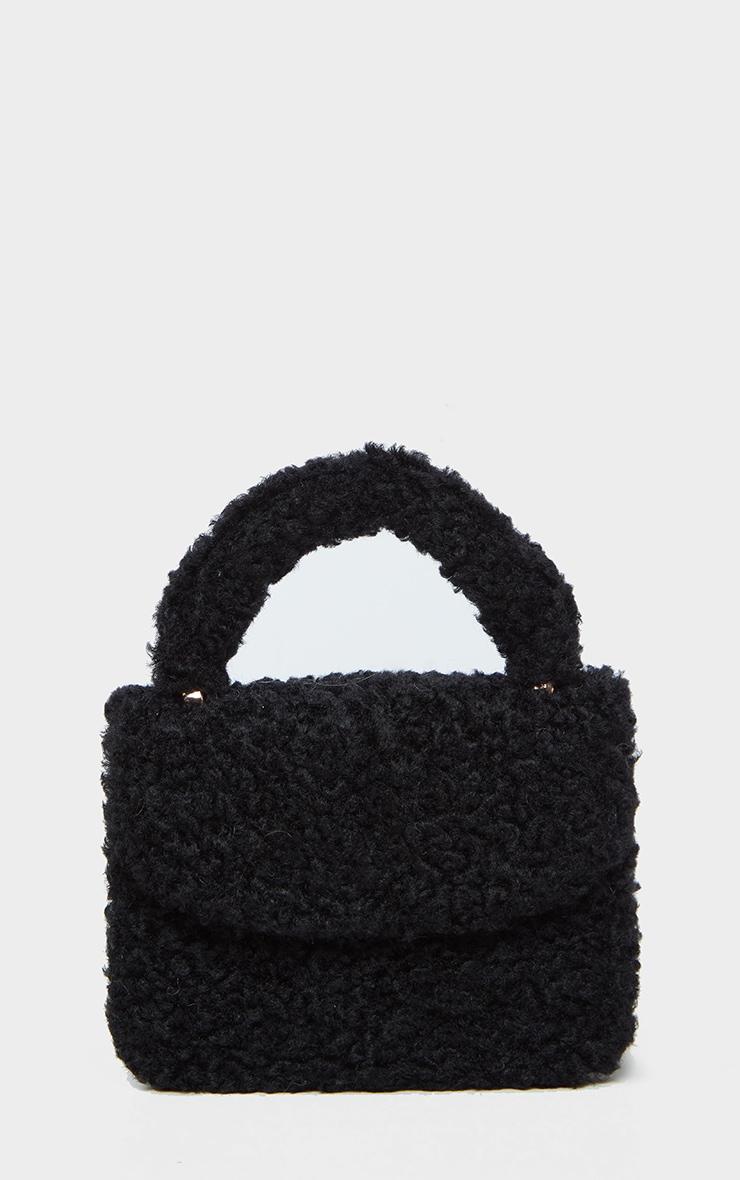 Black Faux Shearling Mini Grab Bag  2