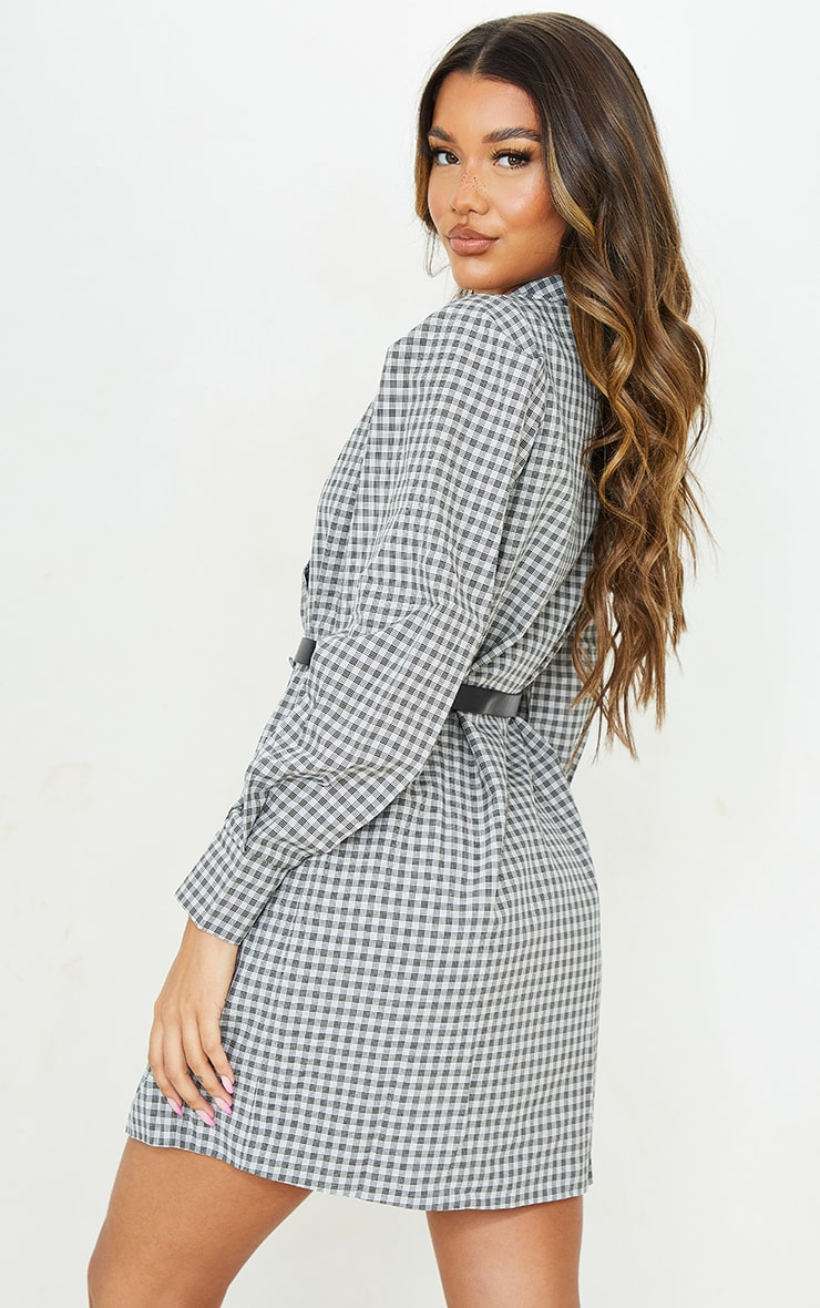 Beige Check Print Belted Blazer Dress 2