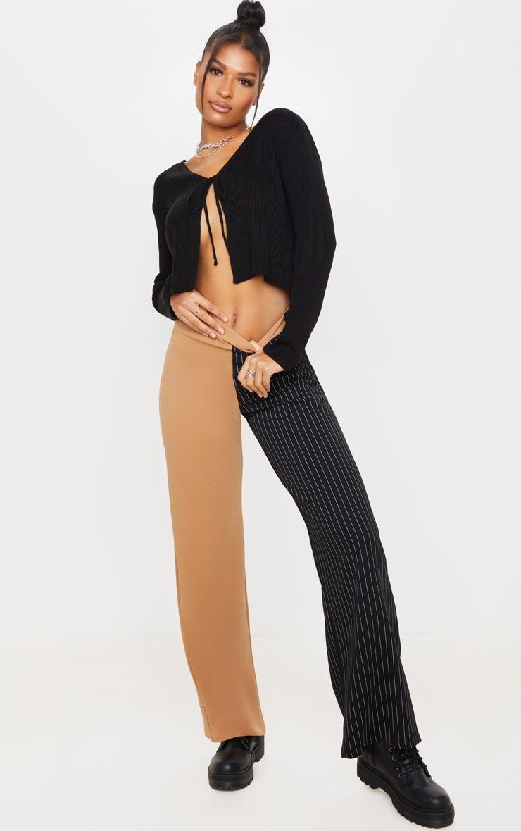 Camel Pinstripe Contrast Leg Wide Leg Pants 1
