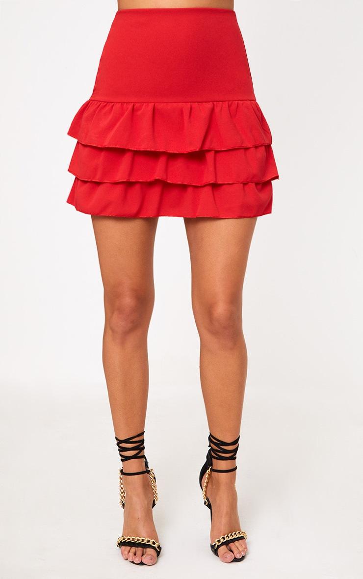 Red Tiered Frill Hem Mini Skirt 2