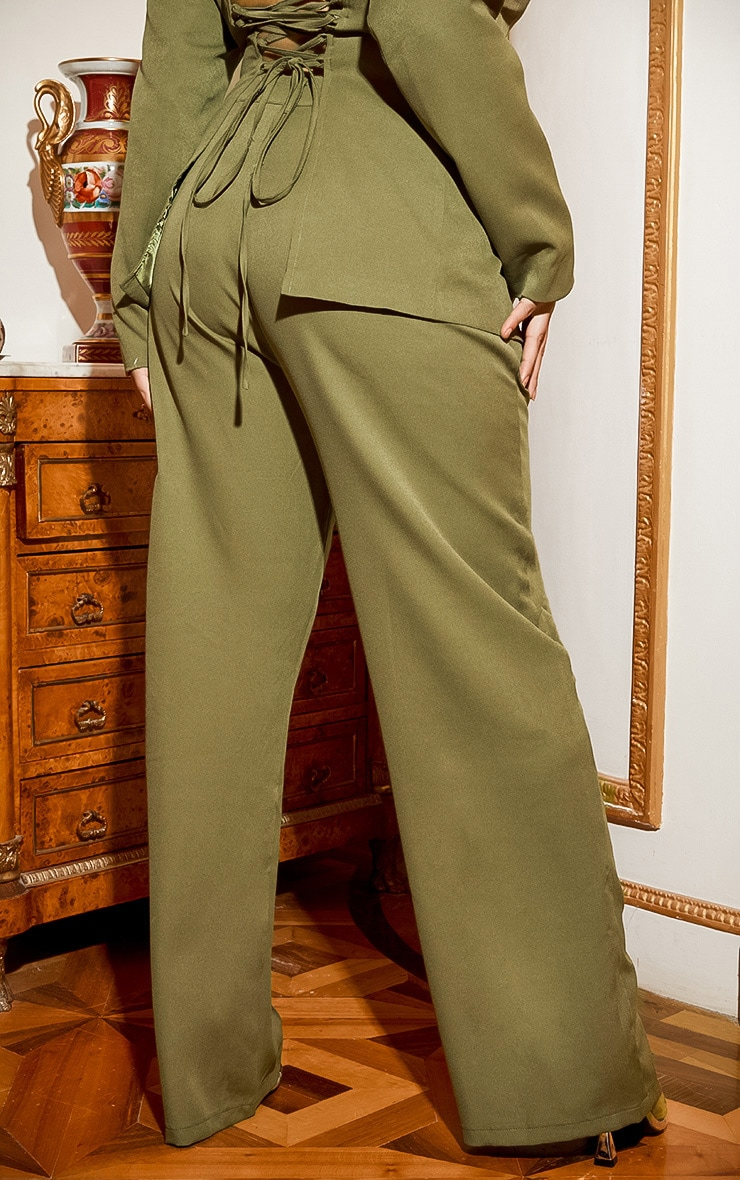Plus Khaki Wide Leg Pants 5