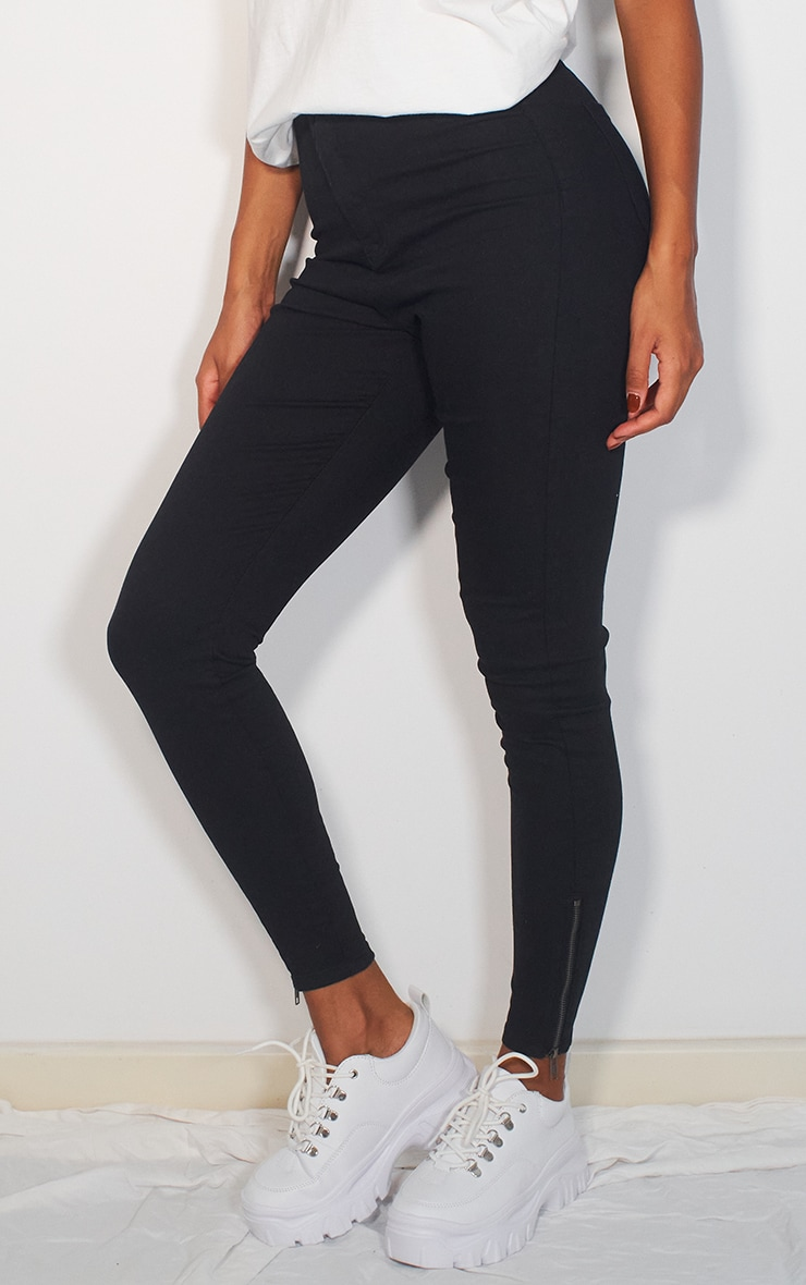 Black Stretch Denim Zip Hem Skinny Jeans 2