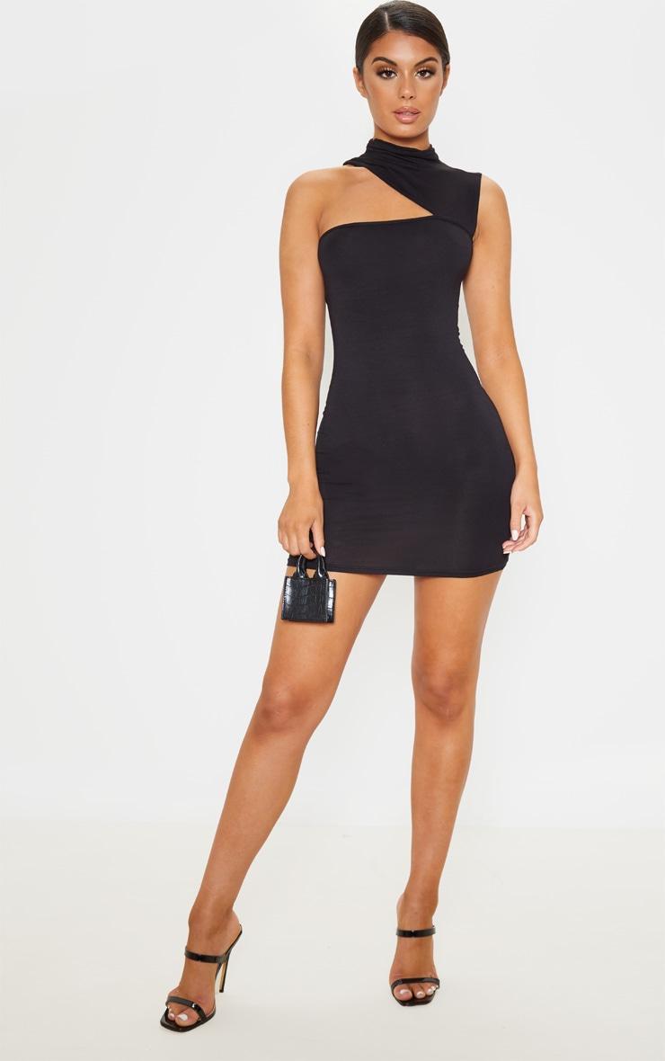 Black High Neck Cut Out Sleeveless Bodycon Dress 4