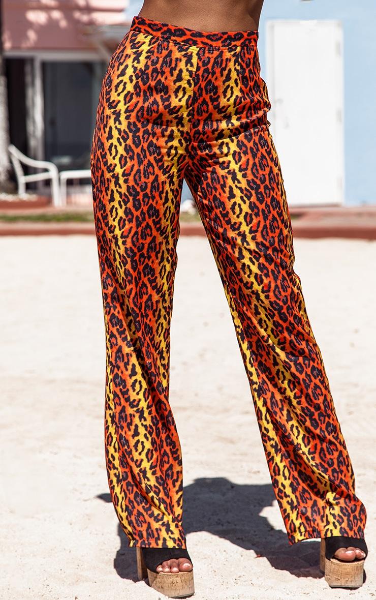 Orange Leopard Print Beach Flares 2
