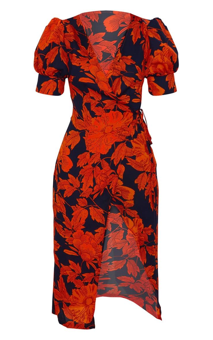 Black Floral Print Wrap Tie Puff Sleeve Midi Dress 5