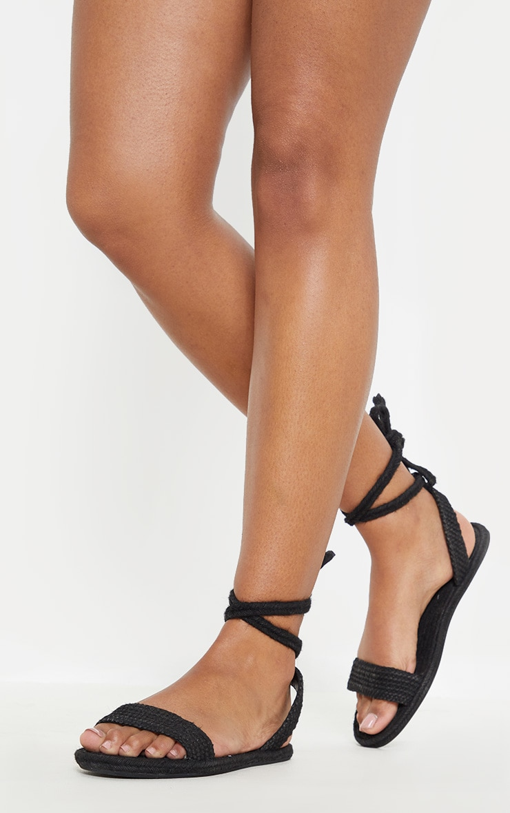 Black Espadrille Lace Up Sandal 2