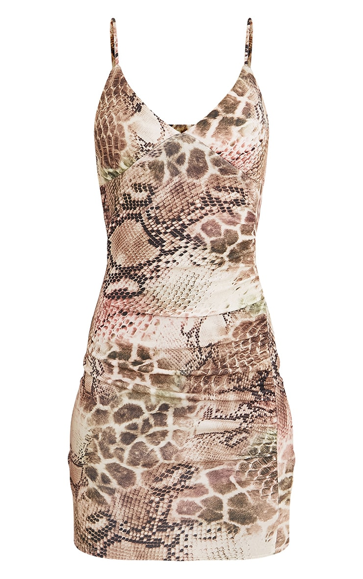 Nevaeh Tan Snake Print Bodycon Dress 3