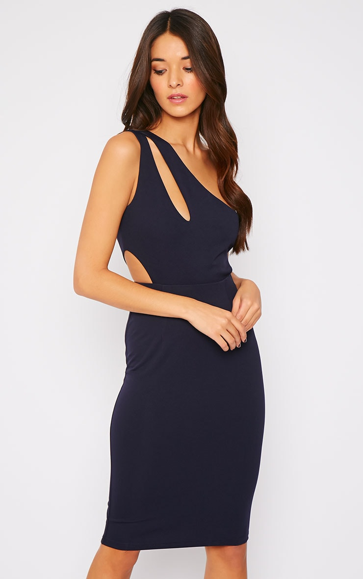 Angelina Navy One Shoulder Cut Out Midi Dress 3