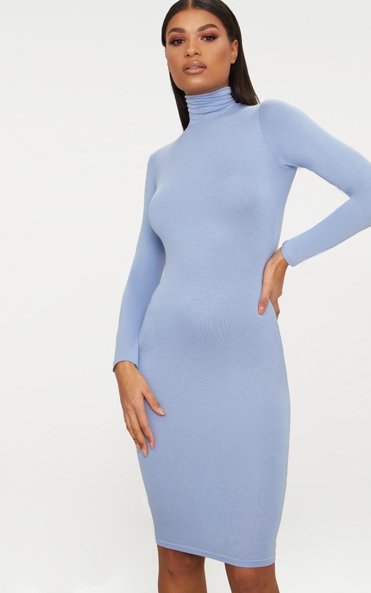 Basic Dusky Blue Roll Neck Midi Dress 4