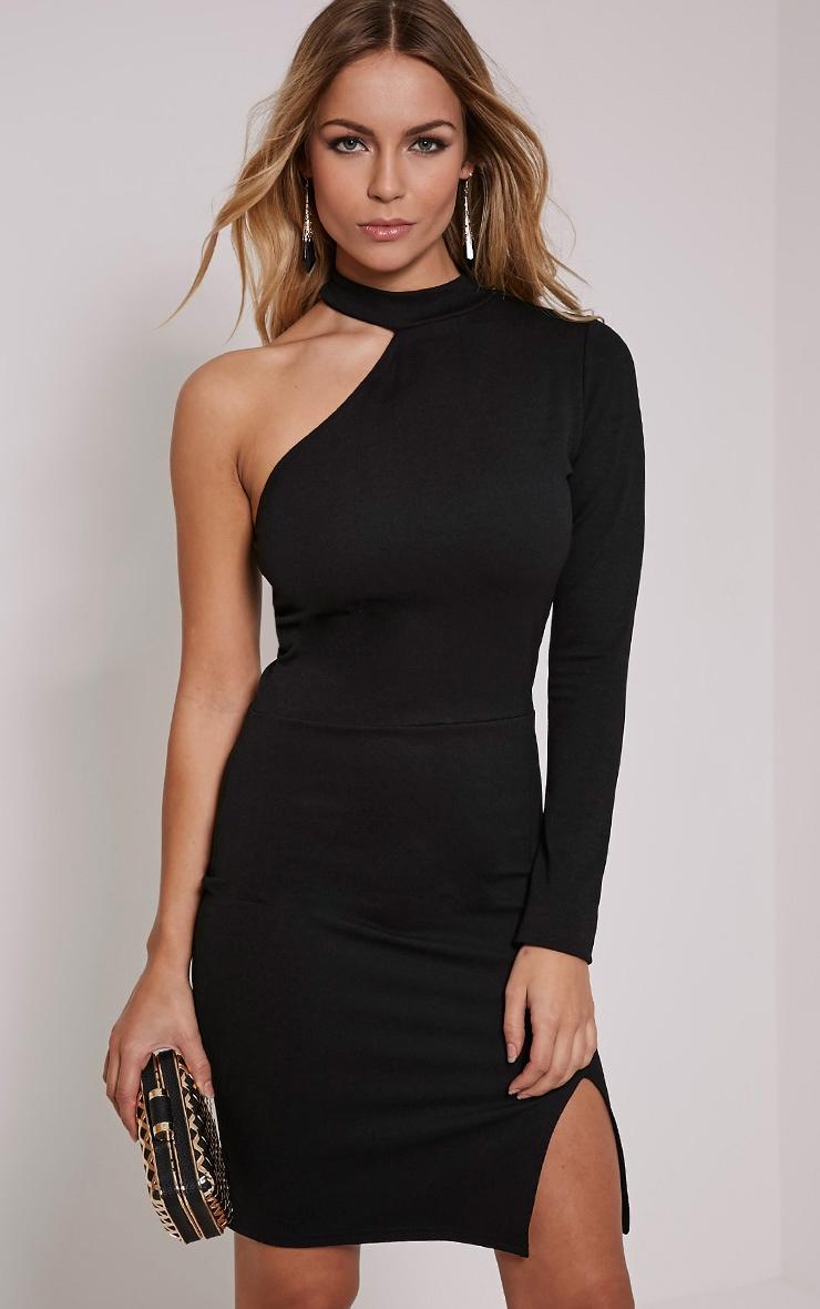 Anastasia Black Asymmetric Bodycon Dress 1