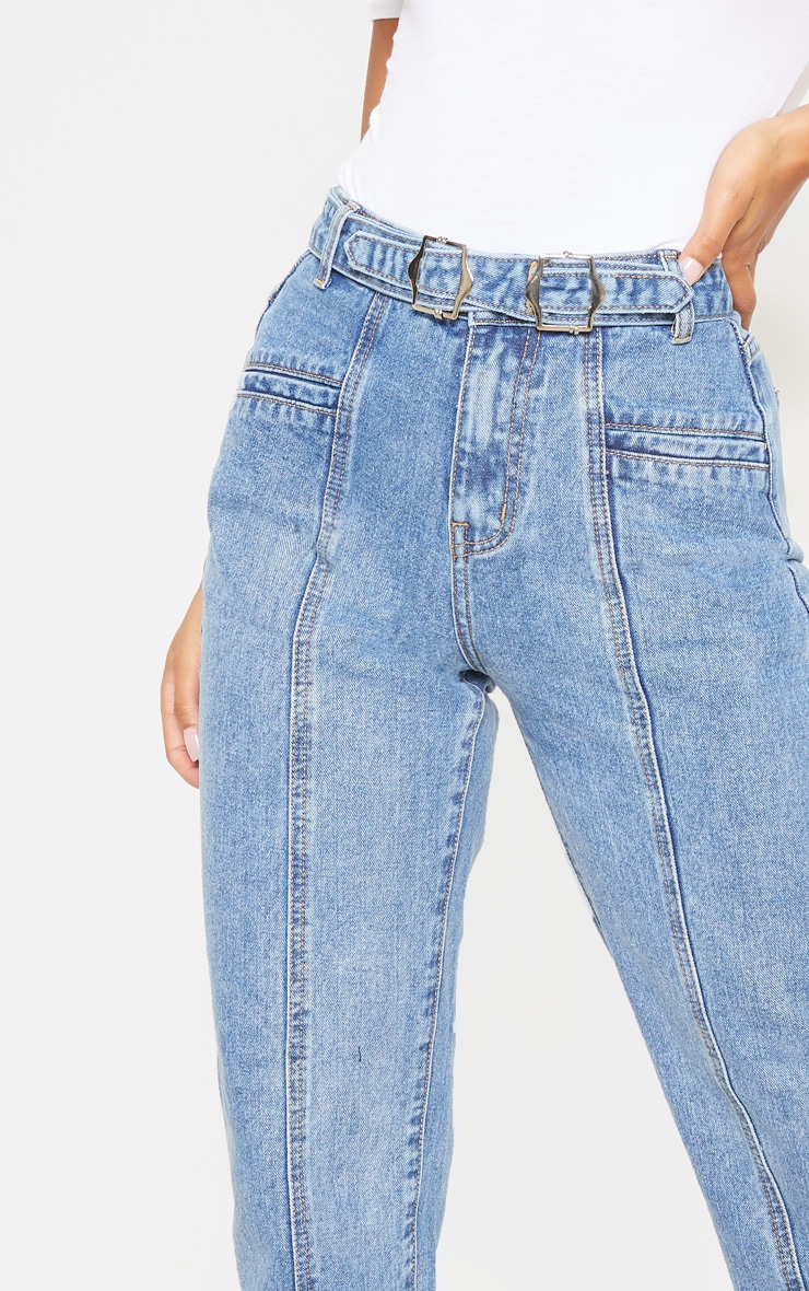 Mid Wash Double Buckle Straight Leg Jean 5