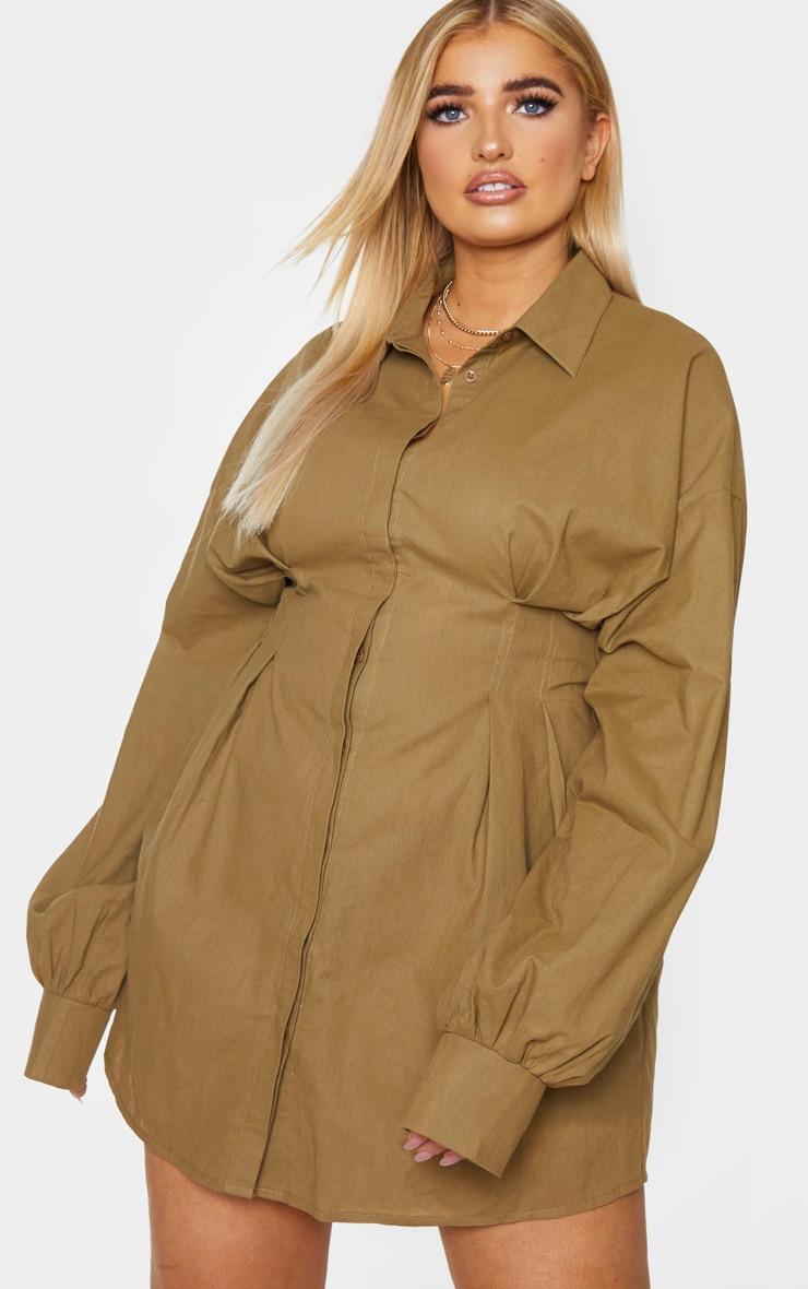 PLT Plus - Robe chemise kaki à détail plissé et manches ballon 1