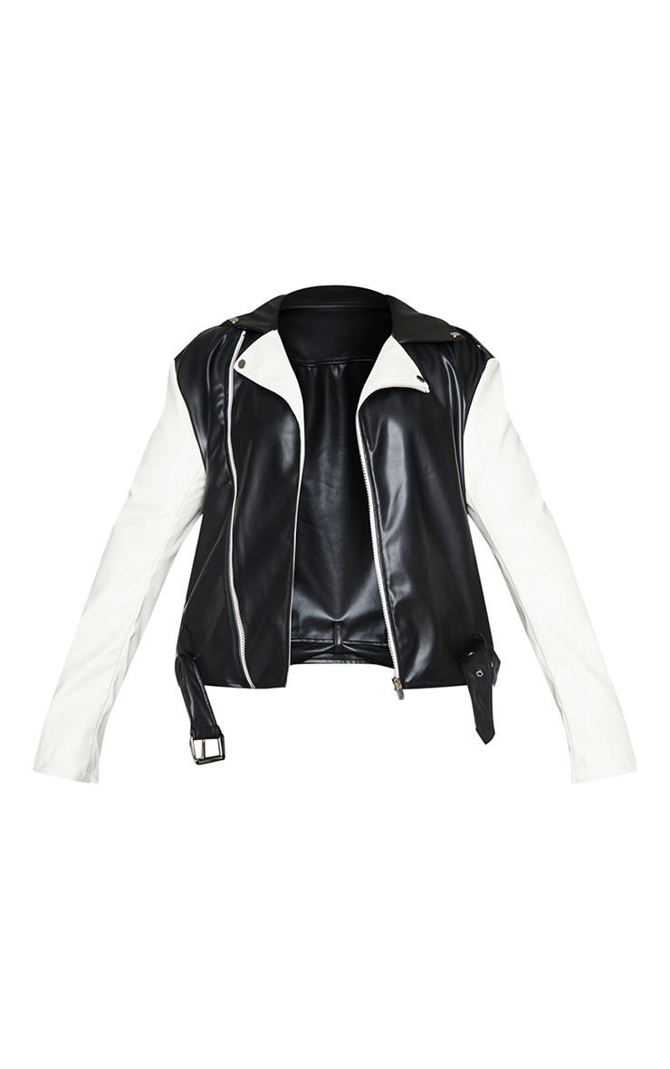 Plus Black Faux Leather Contrast Belted Biker Jacket 5