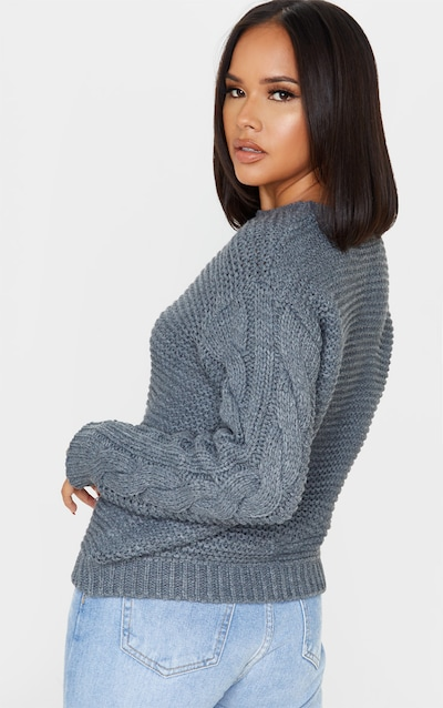 Dark Grey Cable Front Chunky Knitted Jumper
