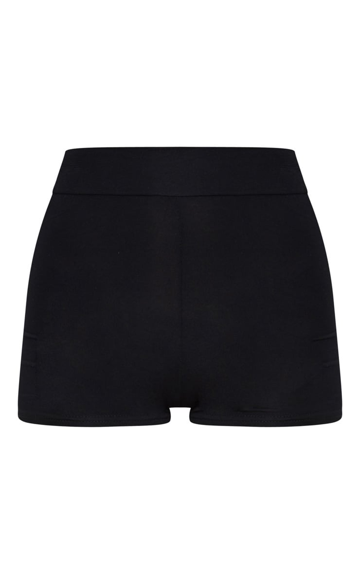Basic Jersey Black High Waist Hot Pants 1