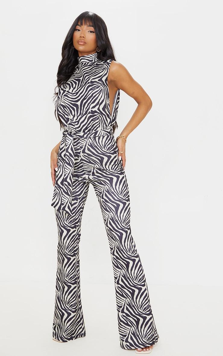 Stone Zebra Scuba High Neck Tie Waist Jumpsuit 1