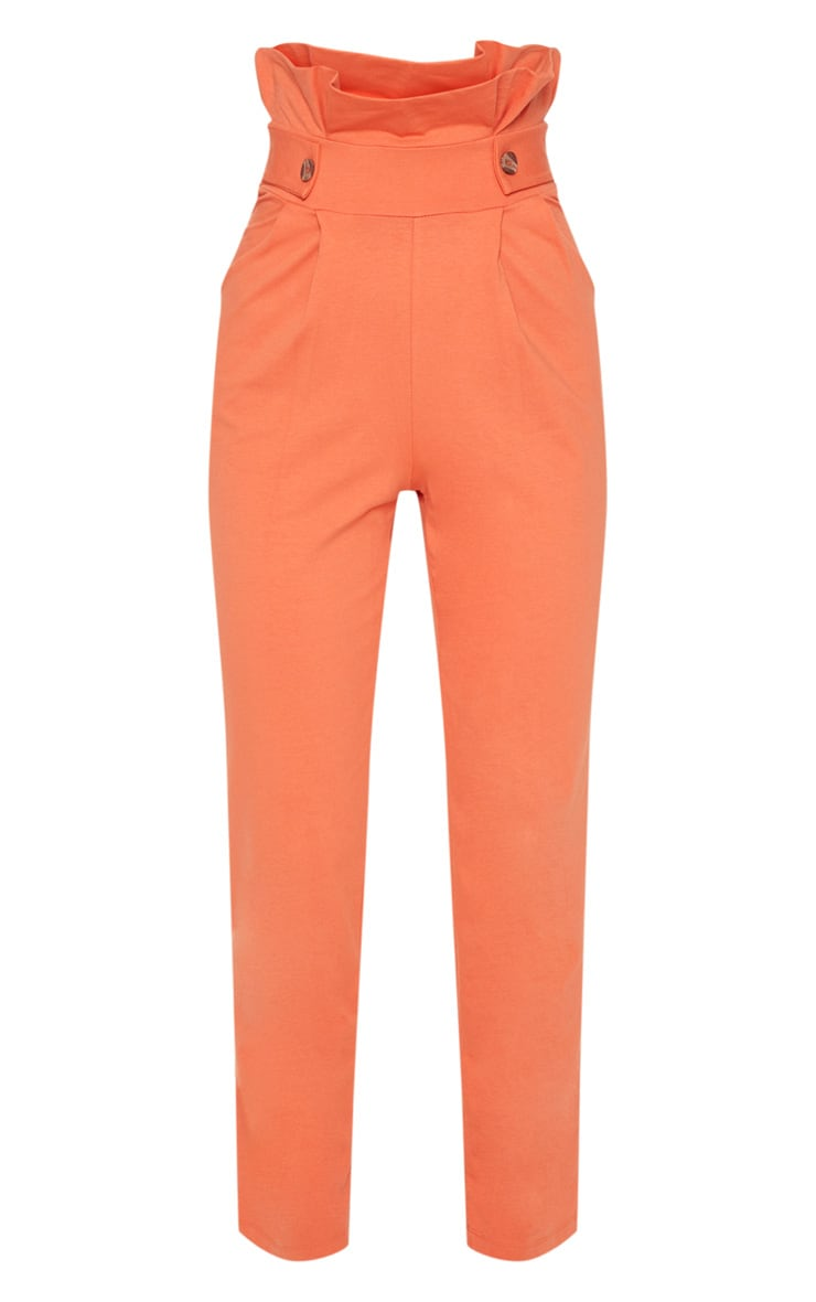 Burnt Orange Button Detail Tapered Trousers 3