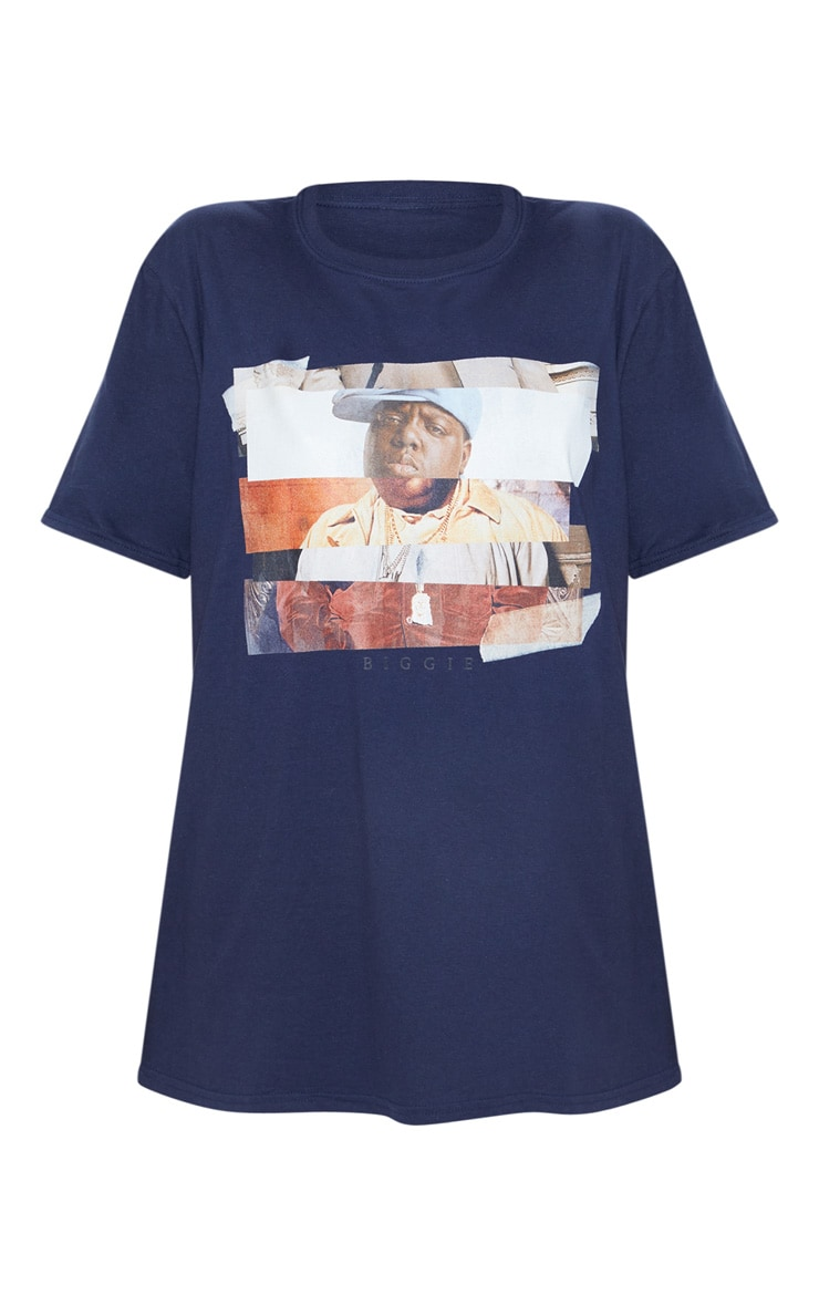 Navy Biggie Print Oversized T Shirt 3