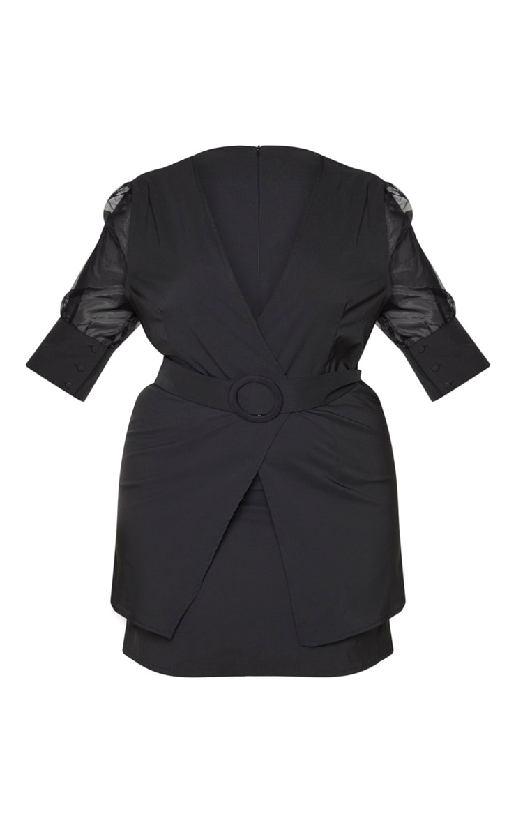 Plus Black Organza Sleeve Tie Waist Skater Dress 3