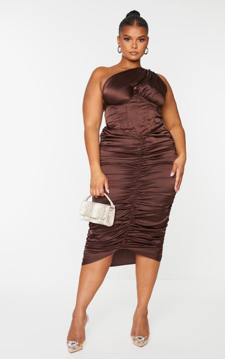 Plus Chocolate One Shoulder Corset Ruched Satin Midi Dress 1
