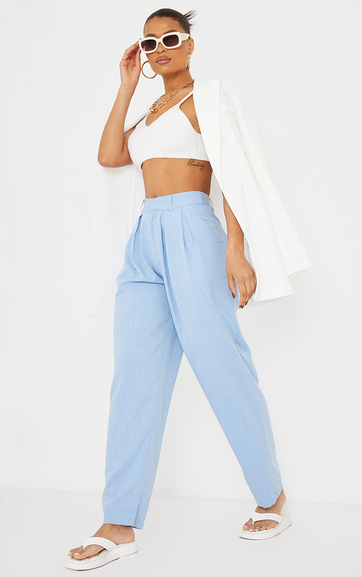 Pale Blue Woven Textured High Waisted Cigarette Trousers 1