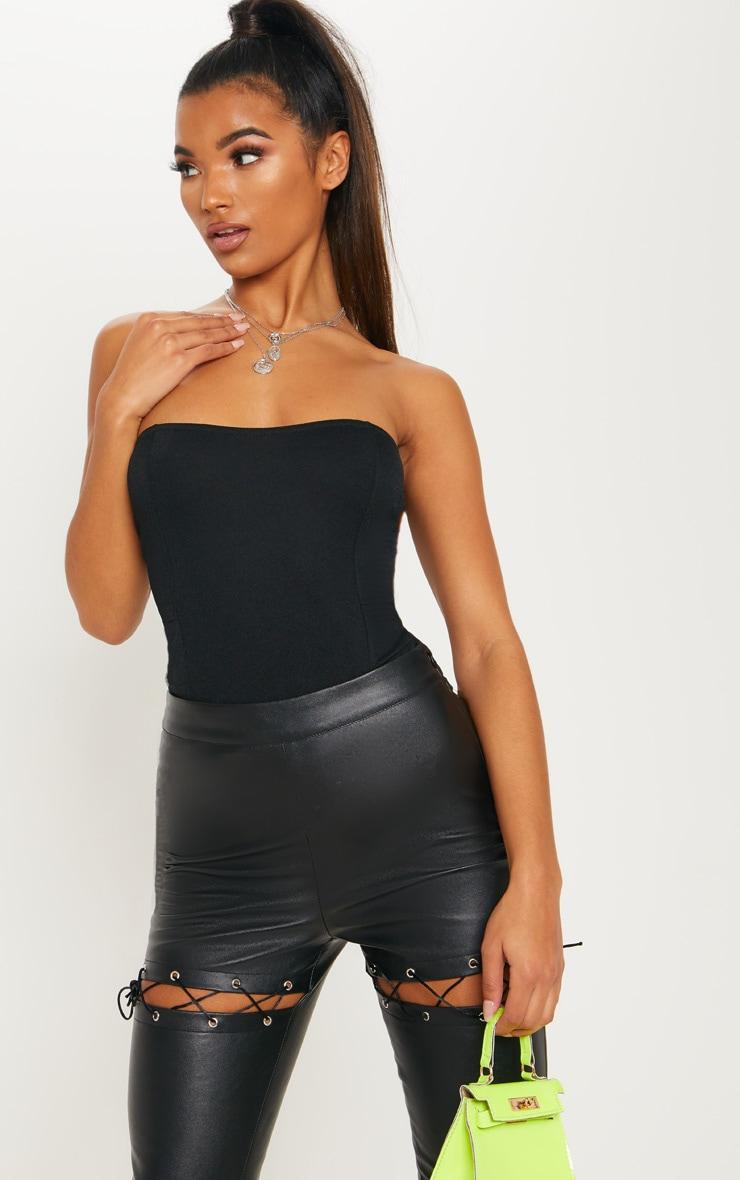 Black Crepe Bandeau Bodysuit 1