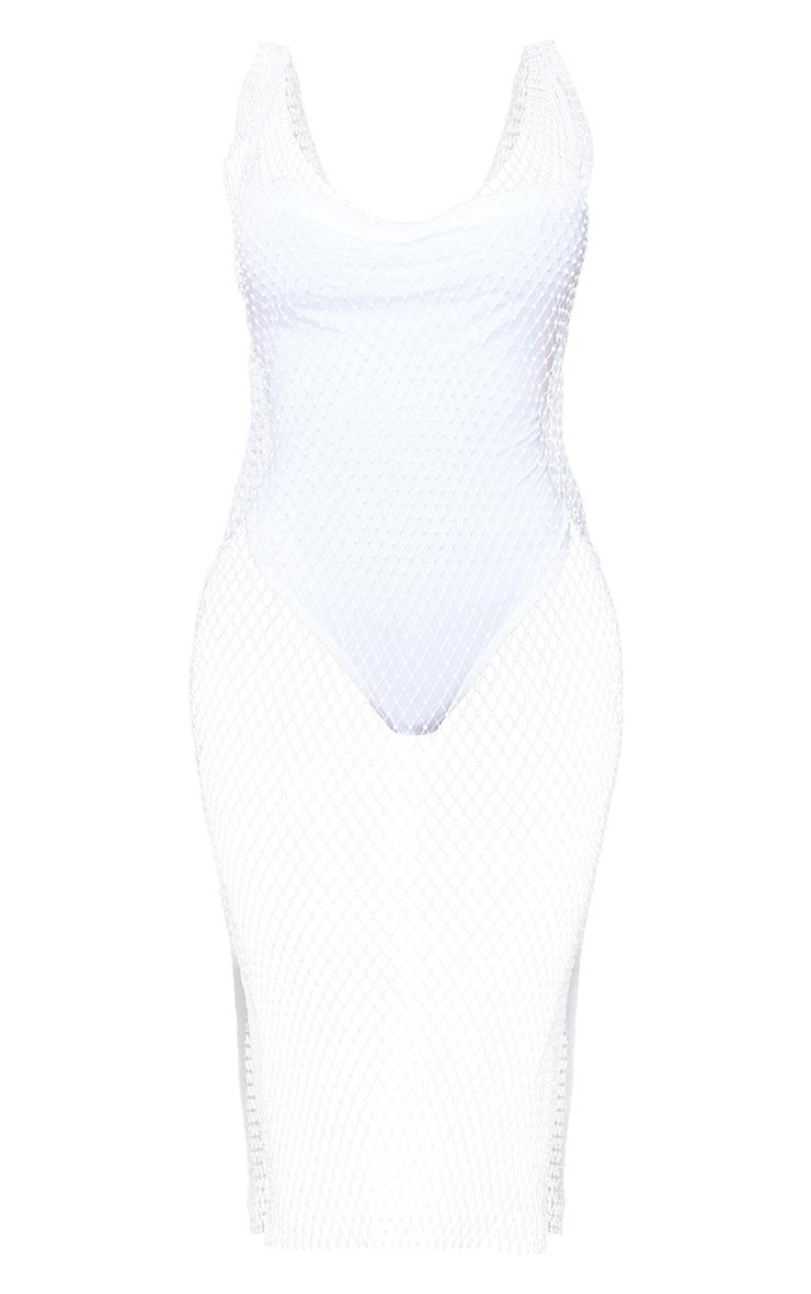 Shape White Mesh Diamante Plunge Midi Dress 5