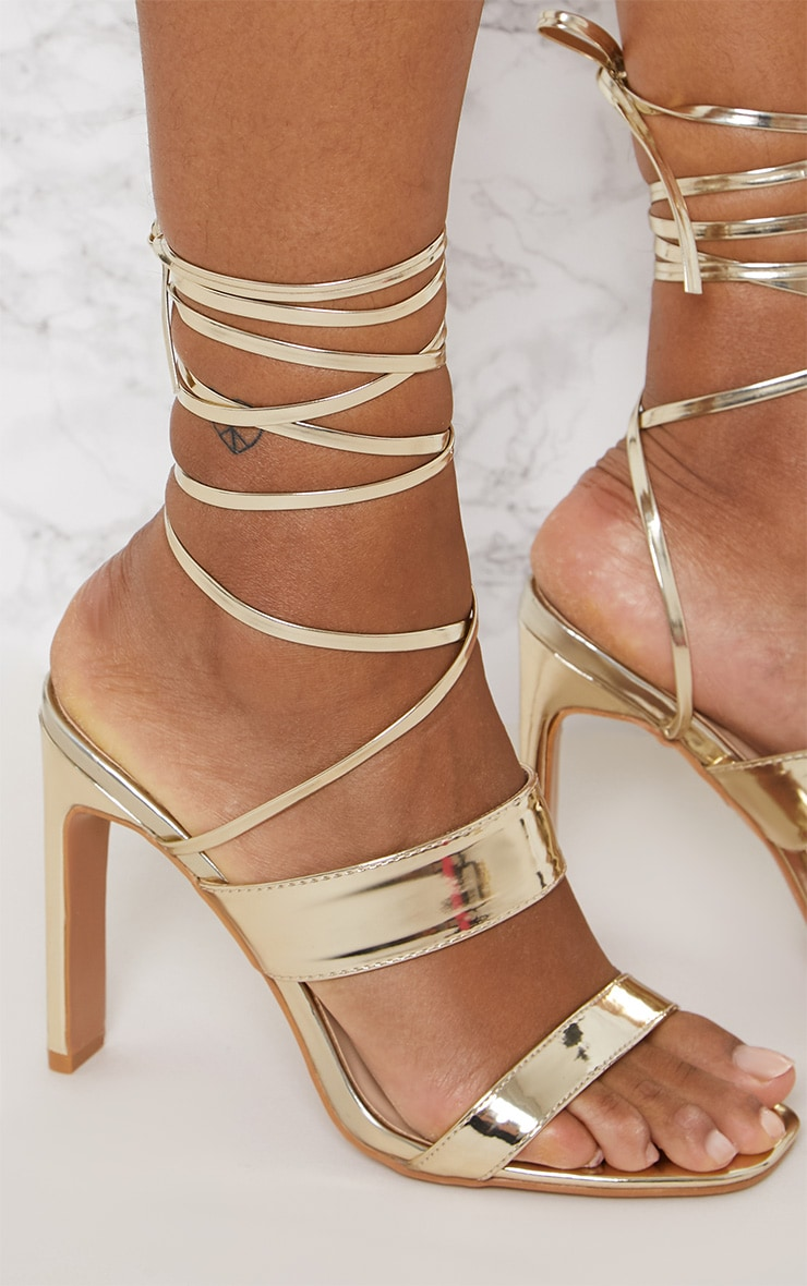 Gold Patent Ankle Lace Up Mule Heel 5