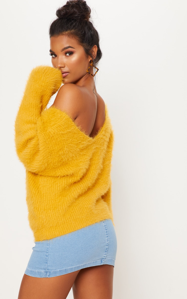 Mustard Eyelash Knitted Jumper 2