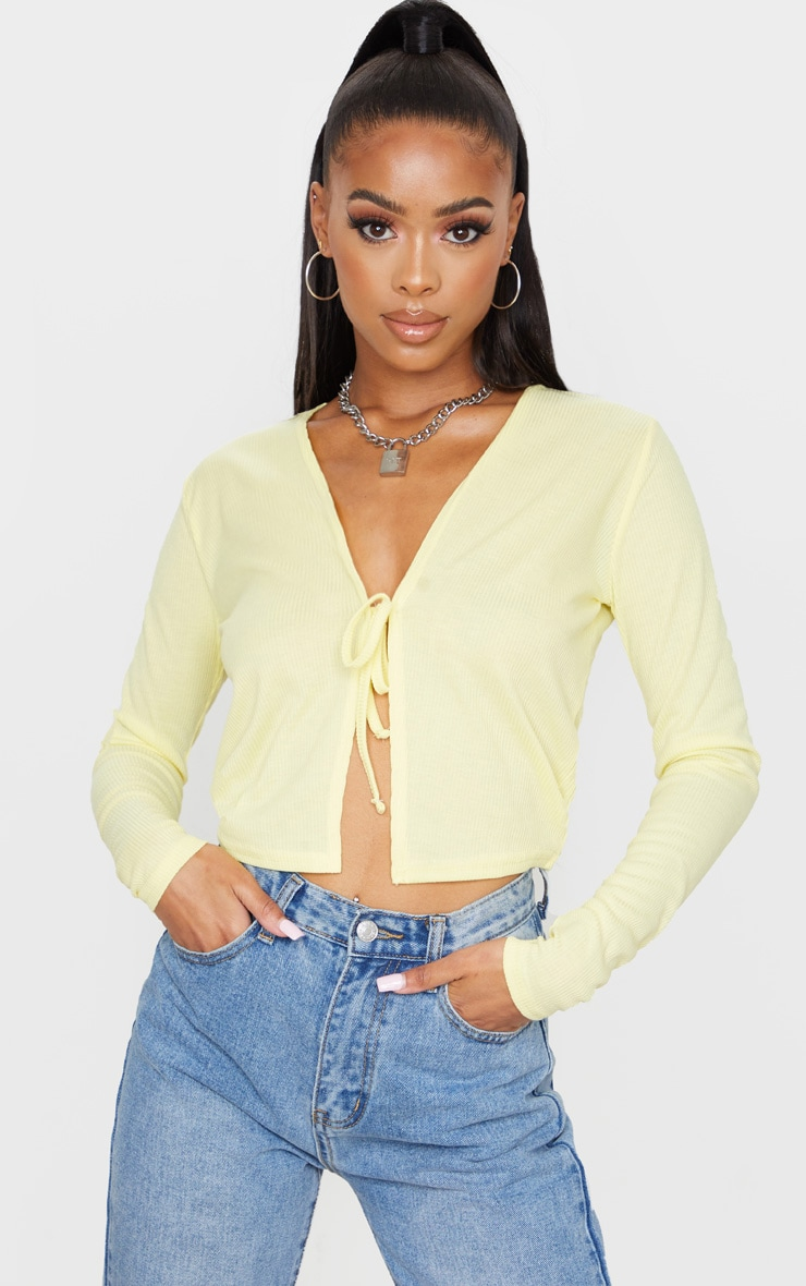 Lemon Rib Tie Front Long Sleeve Crop Top 1