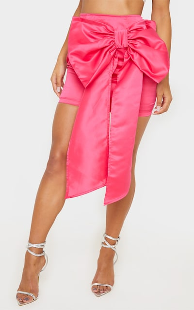 Hot Pink Satin Woven Bow Front Mini Skirt