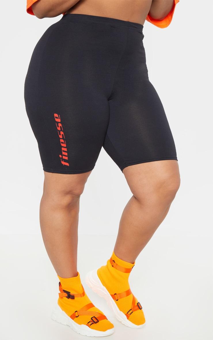 Plus Black Slogan Bike Shorts 3