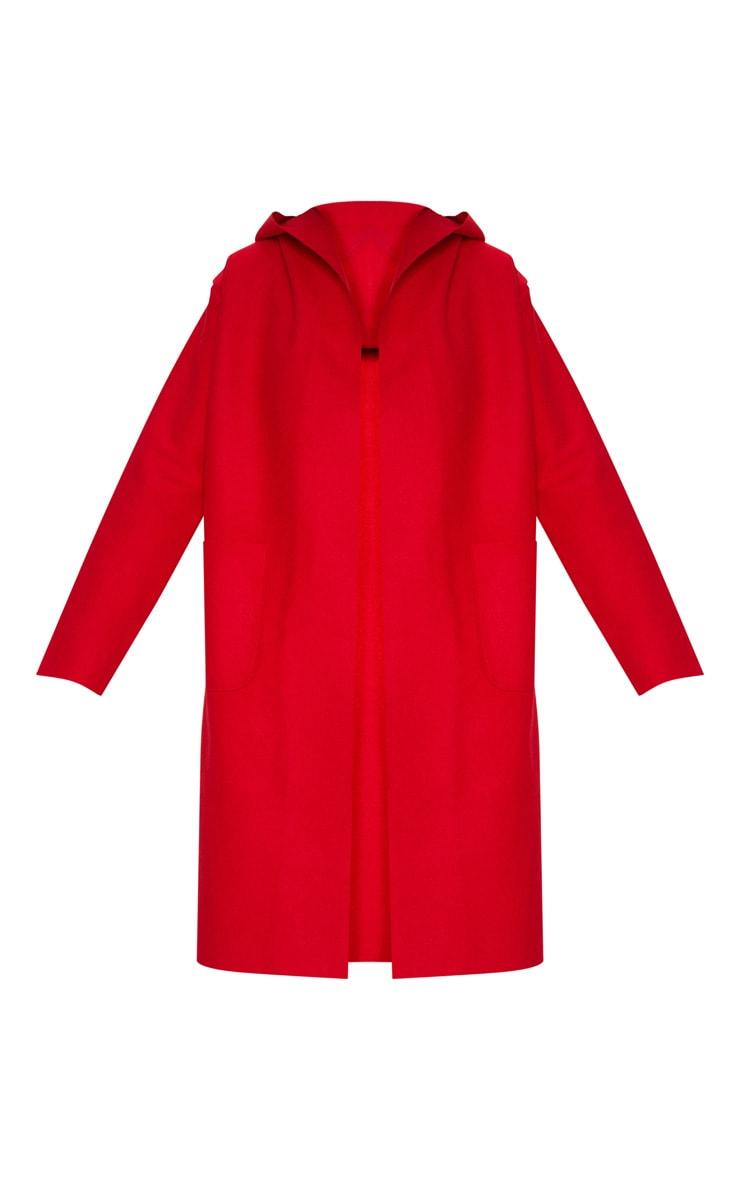 Red Hooded Oversized Coat 3