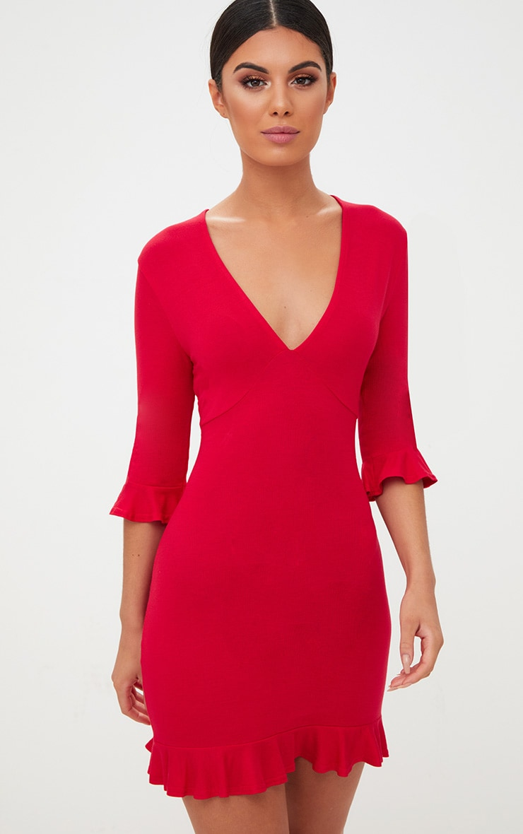 Red Frill Hem Shift Dress 1
