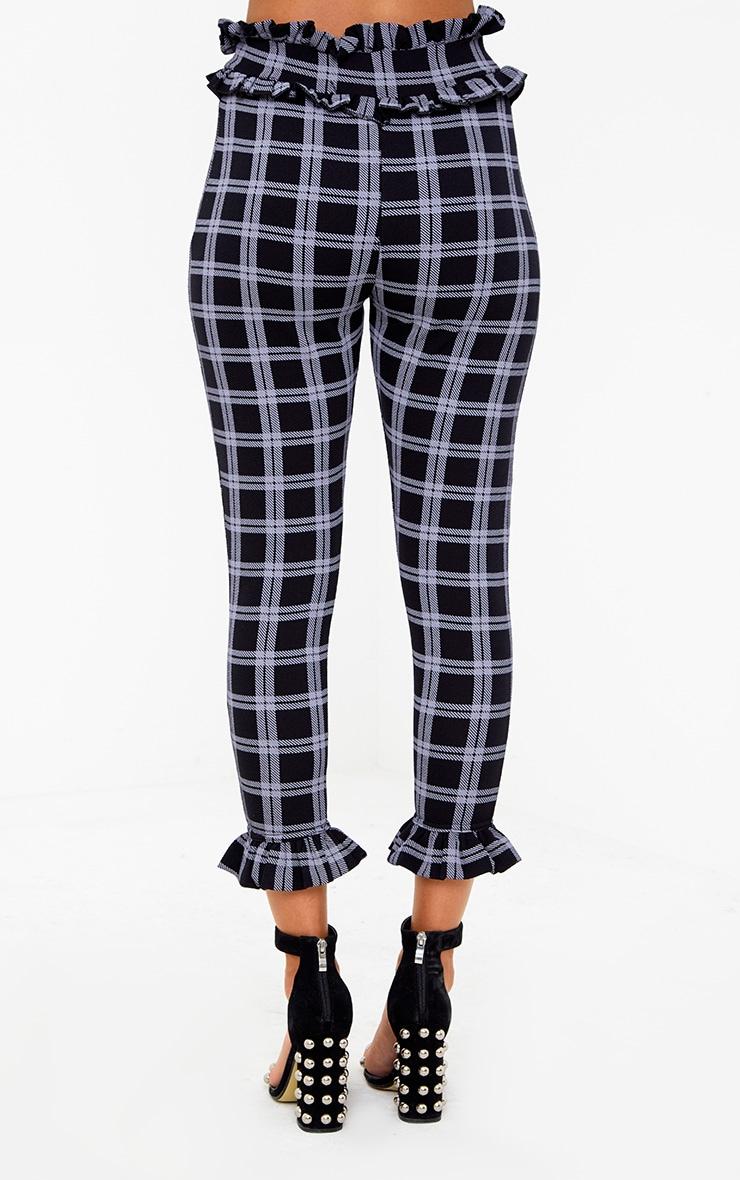 Black Check Frill Trim Trousers 4