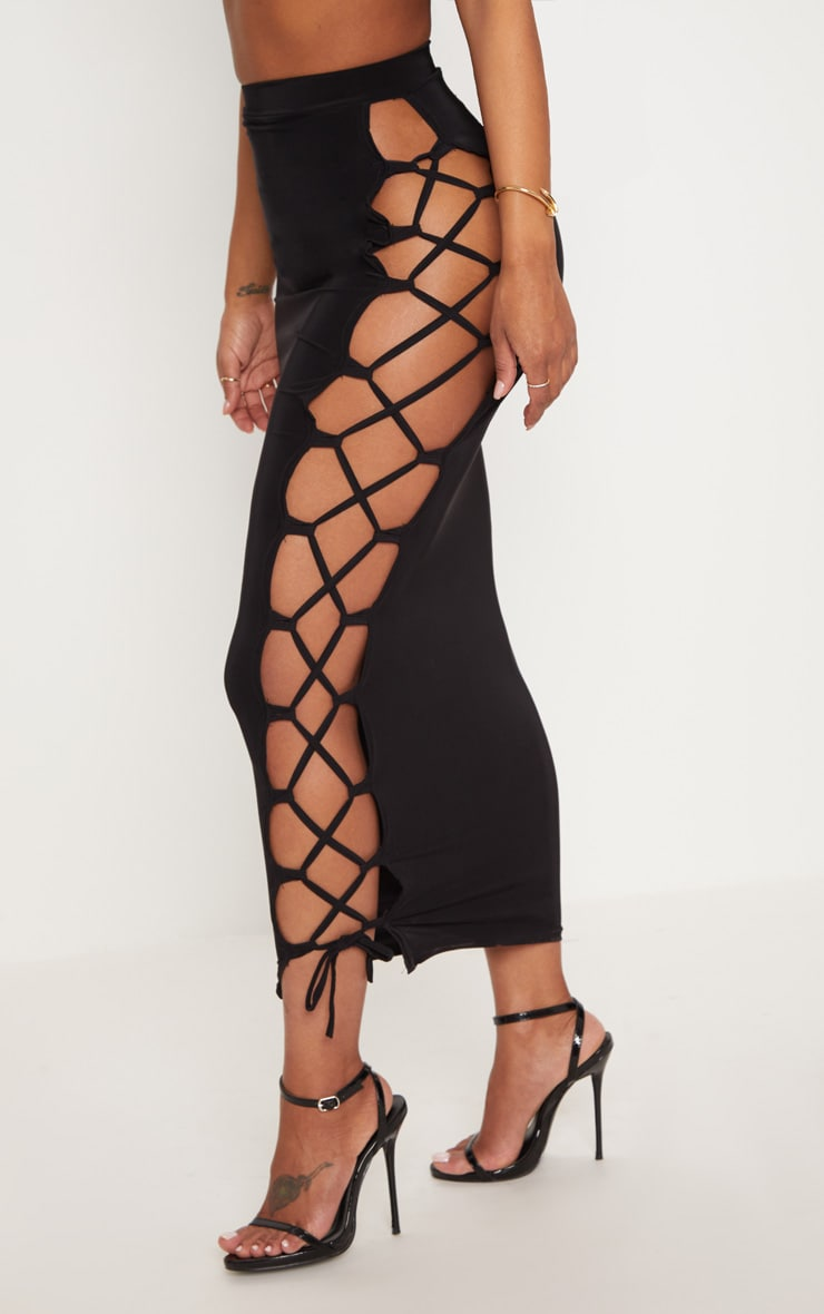 Shape Black Slinky Lace Up Detail Midi Skirt 2