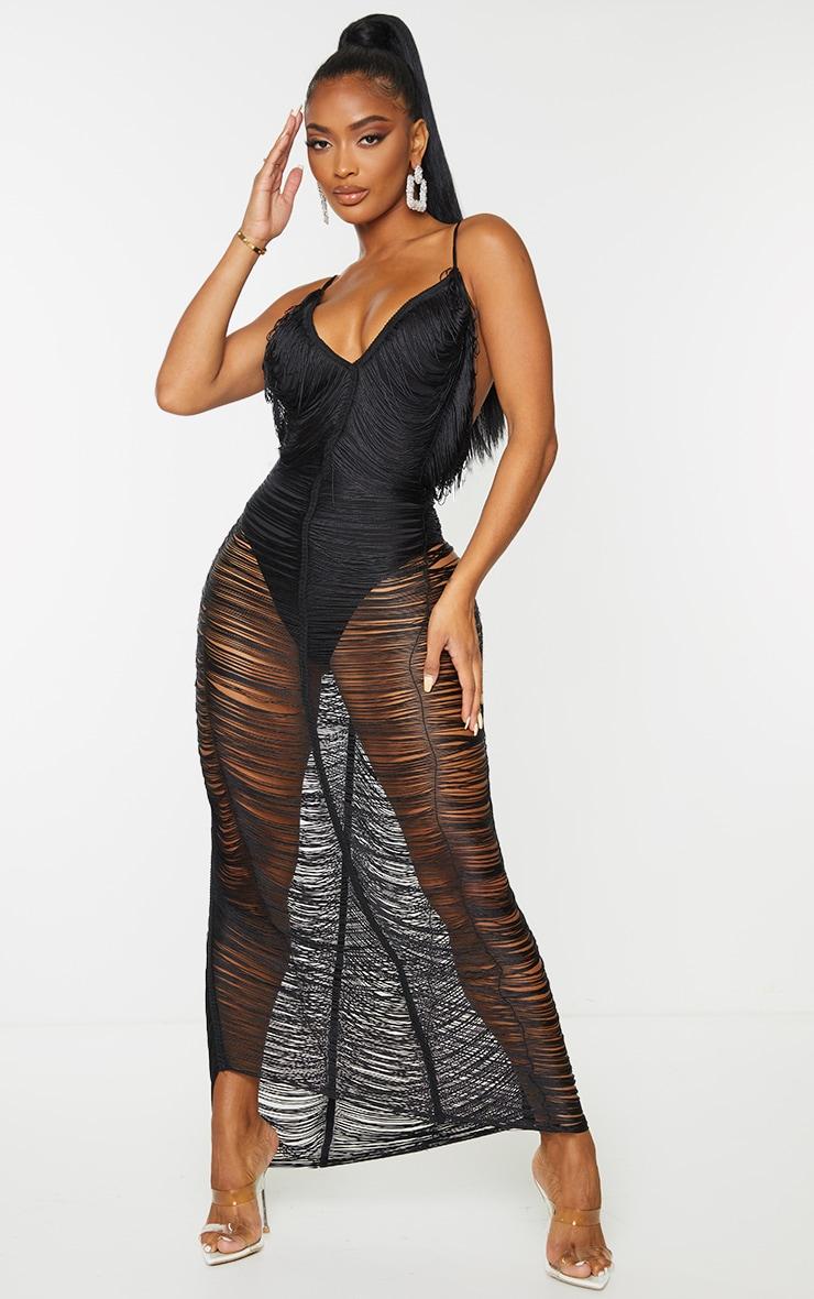 Shape Black Fringe Detail Midaxi Dress 1