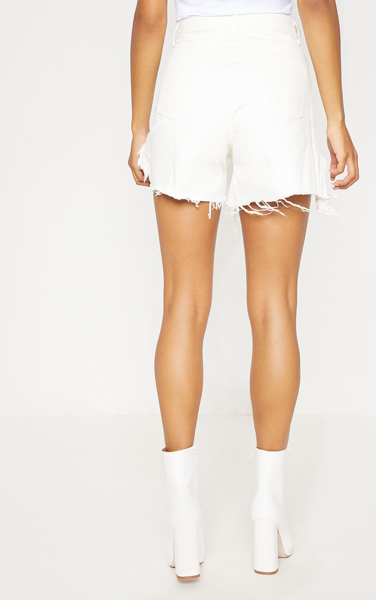 White Distressed Longline Denim Shorts  4