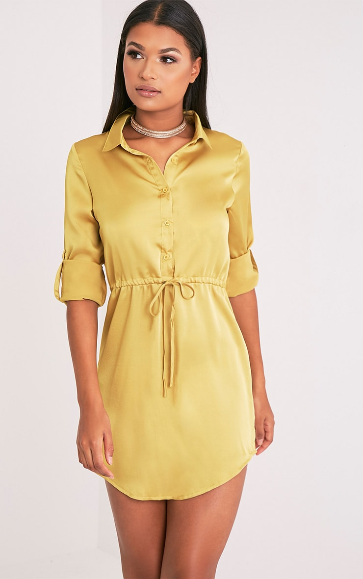 Amanda Dark Gold Tie Waist Satin Shirt Dress 1