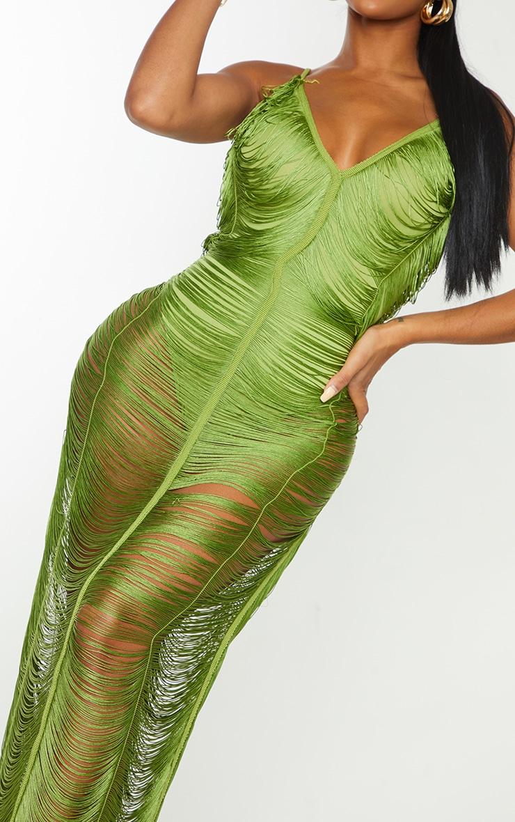 Shape Olive Fringe Detail Midaxi Dress 4