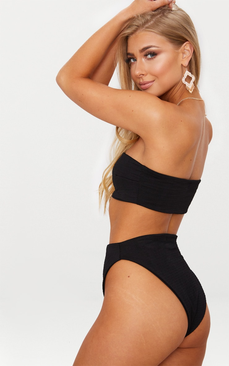Black Crinkle Bandeau Bikini Top 2