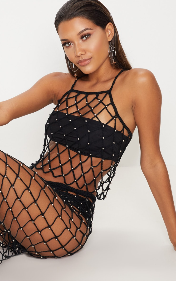 Black Crochet Beaded Crop Top 1