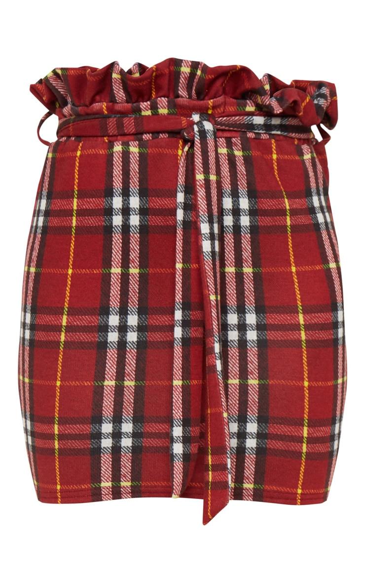 Red Check Paperbag Waist Printed Mini Skirt 3